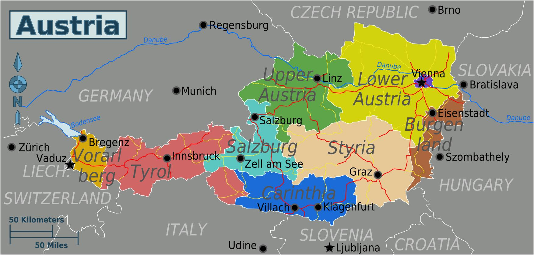 Map Of Zell Germany.Austrijos Narių Zemėlapis Zemėlapis Austrijos Valstybių Vakarų